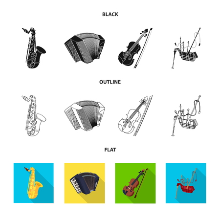Vector illustration of music and tune. Set of music and tool stock vector illustration. Banque d'images - 118084594
