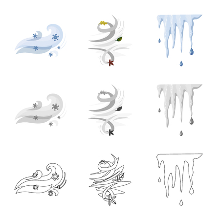 Vector design of weather and climate icon. Collection of weather and cloud stock symbol for web. Vecteurs