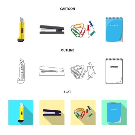Vector design of office and supply. Collection of office and school stock symbol for web.