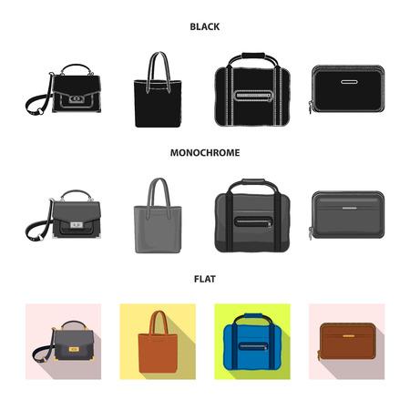 Disegno vettoriale del simbolo della valigia e del bagaglio. Set di valigia e viaggio simbolo azionario per il web. Vettoriali