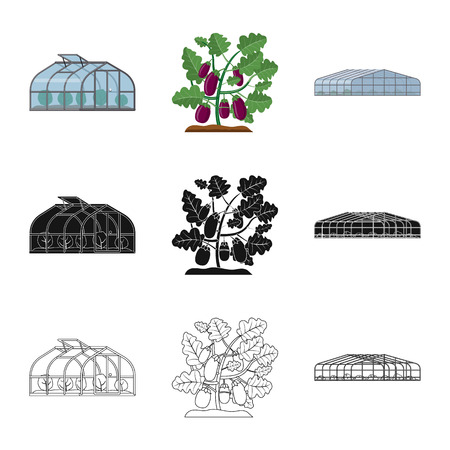 Isolated object of greenhouse and plant sign. Set of greenhouse and garden stock symbol for web.