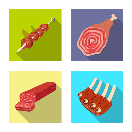 Vector design of meat and ham icon. Collection of meat and cooking vector icon for stock.