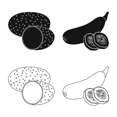Vector illustration of vegetable and fruit symbol. Set of vegetable and vegetarian stock vector illustration. Ilustracja
