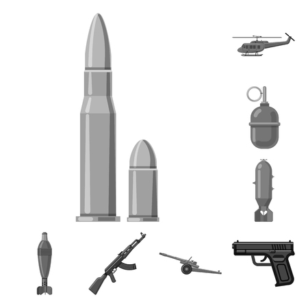 Vector design of weapon and gun logo. Collection of weapon and army vector icon for stock. Stock Vector - 118145945