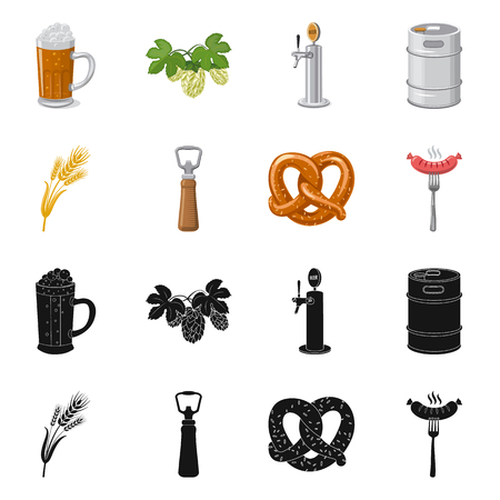 Isolated object of pub and bar sign. Set of pub and interior stock symbol for web. Illustration