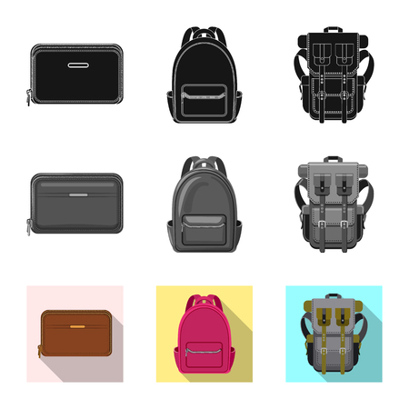 Vector design of suitcase and baggage logo. Set of suitcase and journey vector icon for stock. Vettoriali