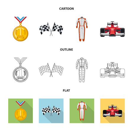 Vector illustration of car and rally symbol. Set of car and race stock symbol for web.