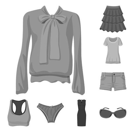 Illustration vectorielle du symbole de la femme et des vêtements. Collection de femme et porter illustration vectorielle stock.