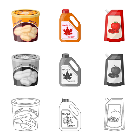 Vector illustration of can and food logo. Set of can and package stock symbol for web.