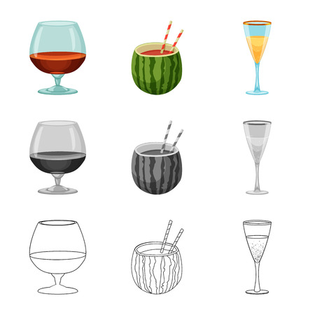 Isolated object of drink and bar symbol. Collection of drink and party vector icon for stock.
