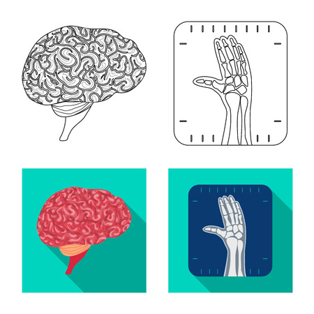 Isolated object of body and human icon. Collection of body and medical stock vector illustration.