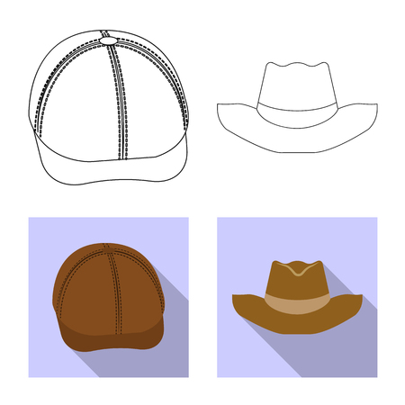 Vector design of headgear and cap logo. Set of headgear and accessory stock symbol for web.