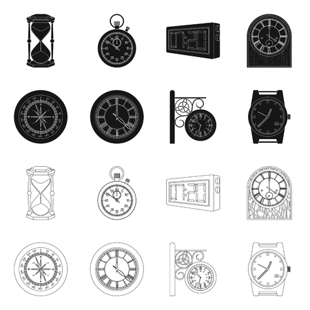 Vector illustration of clock and time sign. Collection of clock and circle vector icon for stock.