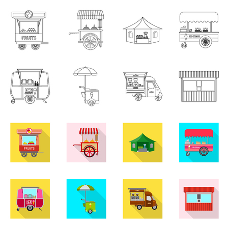 Vector design of market and exterior logo. Set of market and food stock vector illustration.