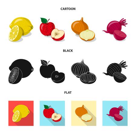 Vector design of vegetable and fruit sign. Set of vegetable and vegetarian stock symbol for web. Vetores