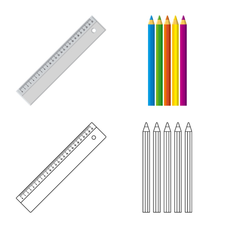Vector design of office and supply. Set of office and school vector icon for stock.