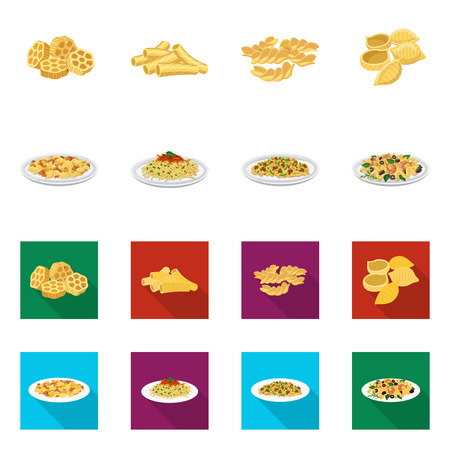 Vector design of pasta and carbohydrate. Set of pasta and macaroni stock vector illustration.