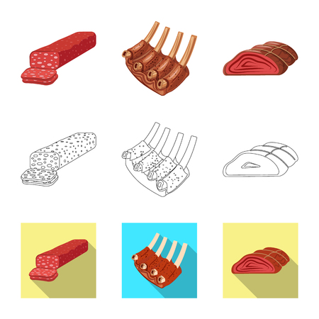 Vector illustration of meat and ham symbol. Set of meat and cooking stock vector illustration.
