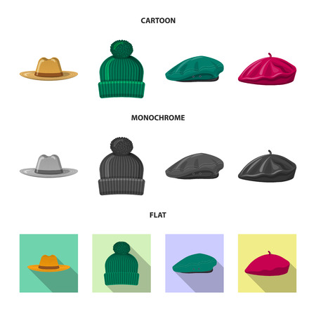 Vector illustration of headgear and cap symbol. Collection of headgear and accessory vector icon for stock.