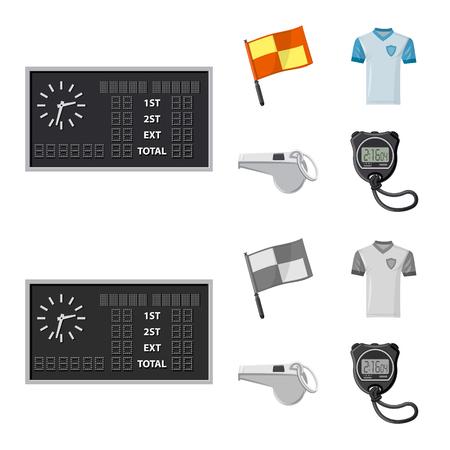 Objeto aislado de fútbol y símbolo de engranaje. Colección de ilustraciones vectoriales de valores de fútbol y torneos.