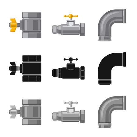 Isolated object of pipe and tube icon. Set of pipe and pipeline stock vector illustration.