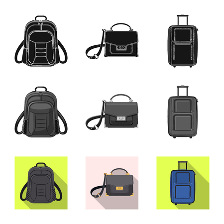 Vector design of suitcase and baggage sign. Set of suitcase and journey vector icon for stock. Vettoriali
