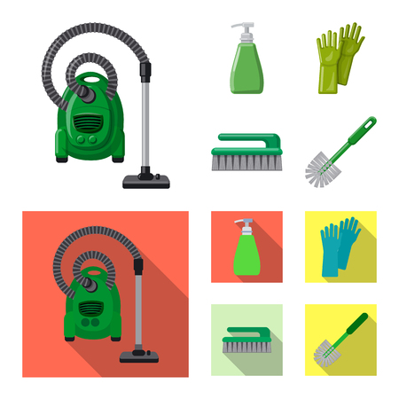Vector design of cleaning and service sign. Collection of cleaning and household stock vector illustration. Vettoriali
