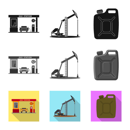 Vector design of oil and gas icon. Collection of oil and petrol vector icon for stock. Illustration
