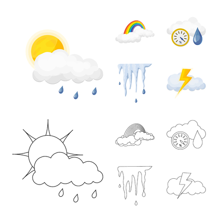 Vector design of weather and climate icon. Collection of weather and cloud stock vector illustration. Иллюстрация