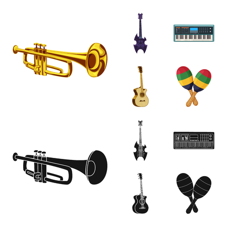 Isolated object of music and tune sign. Set of music and tool vector icon for stock. Ilustração