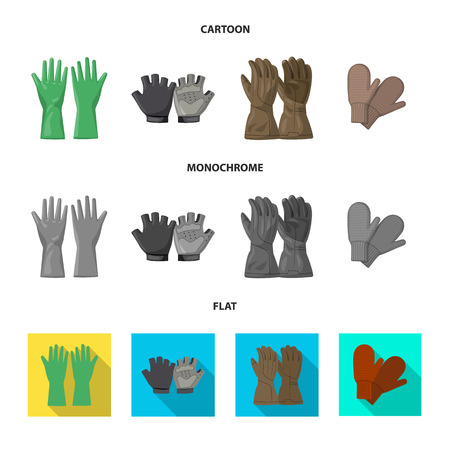 Vector illustration of glove and winter. Set of glove and equipment stock symbol for web. Vettoriali