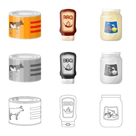 Vector illustration of can and food icon. Collection of can and package vector icon for stock. Ilustração