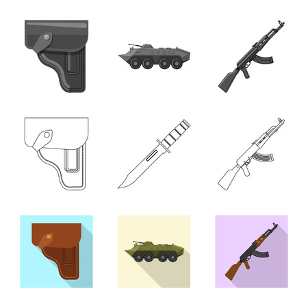 Vector design of weapon and gun. Collection of weapon and army vector icon for stock.
