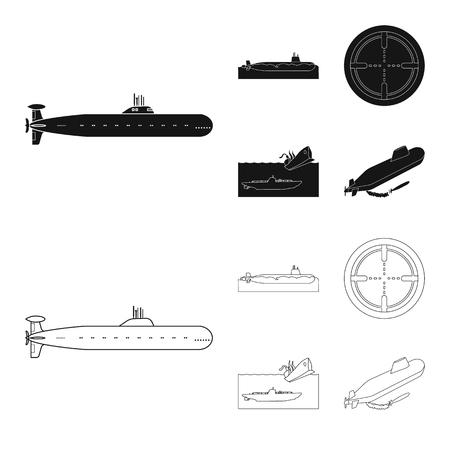 Vector design of war  and ship sign. Set of war  and fleet stock vector illustration. Ilustração