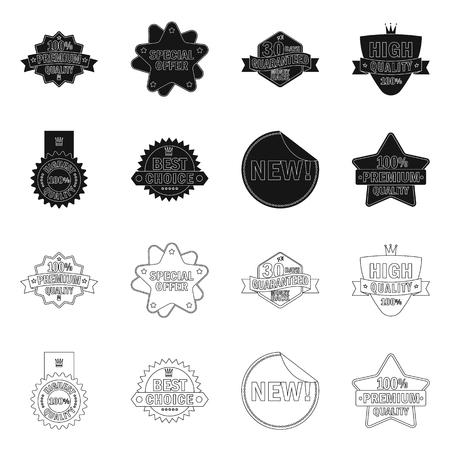 Vector illustration of emblem and badge logo. Set of emblem and sticker stock vector illustration.