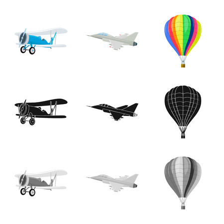 Vector illustration of plane and transport sign. Set of plane and sky vector icon for stock.