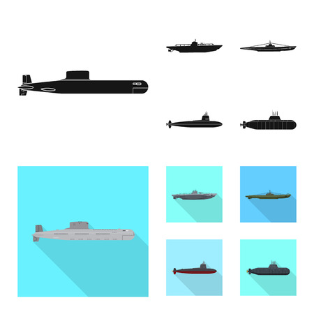 Isolated object of war  and ship logo. Collection of war  and fleet stock symbol for web.