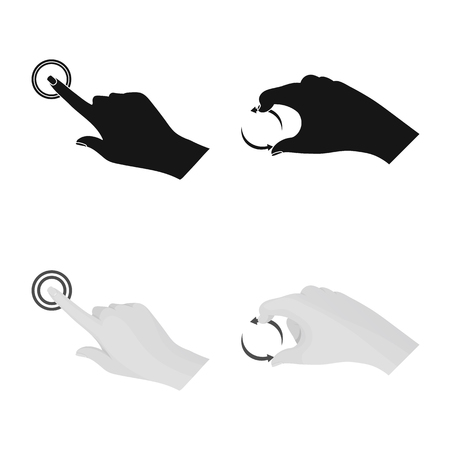 Vector design of touchscreen and hand icon. Collection of touchscreen and touch vector icon for stock.