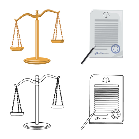 Vector design of law and lawyer icon. Set of law and justice stock symbol for web.