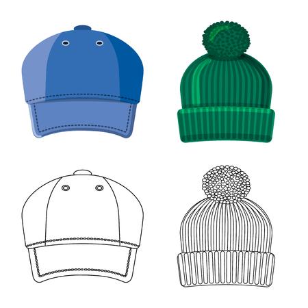 Vector design of headgear and cap symbol. Collection of headgear and accessory vector icon for stock. Illustration