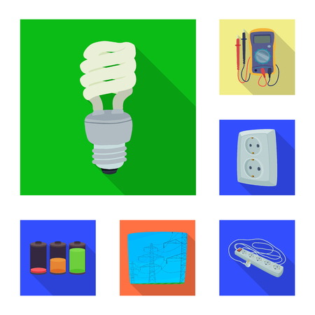 Vector illustration of electricity and electric logo. Set of electricity and energy vector icon for stock. Illustration