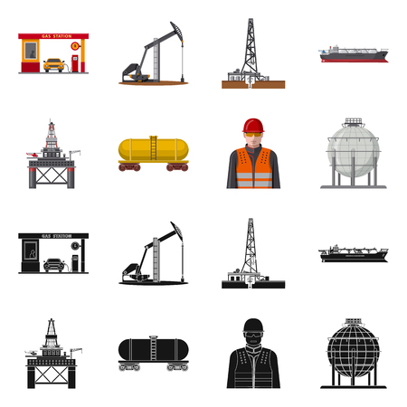 Isolated object of oil and gas icon. Set of oil and petrol vector icon for stock. Vektorové ilustrace