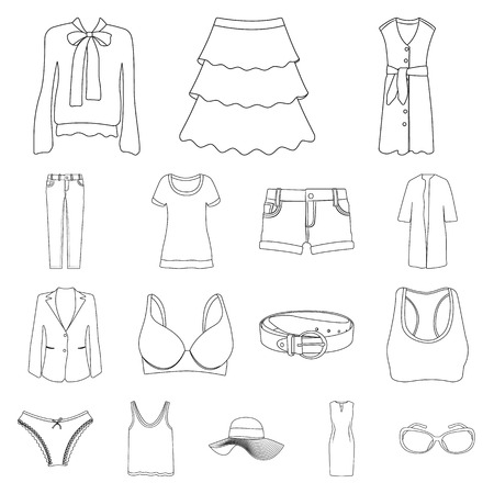 Isolated object of woman and clothing symbol. Set of woman and wear vector icon for stock.