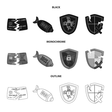 Isolated object of virus and secure icon. Collection of virus and cyber vector icon for stock.