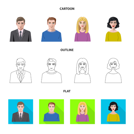Vector design of hairstyle and profession  symbol. Set of hairstyle and character  vector icon for stock.