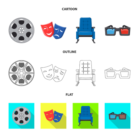 Vector illustration of television and filming symbol. Collection of television and viewing vector icon for stock.