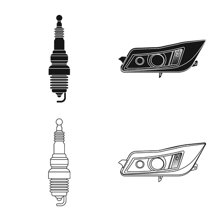 Vector design of auto and part. Collection of auto and car stock symbol for web.
