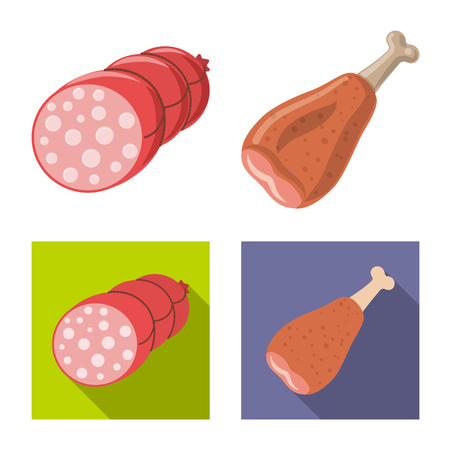 Vector illustration of meat and ham symbol. Collection of meat and cooking stock symbol for web. Stock fotó - 118794626