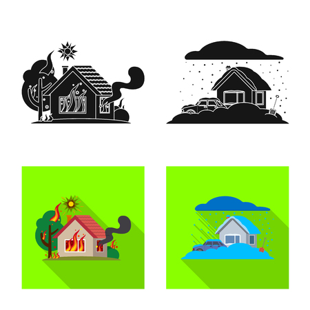 Vector illustration of natural and disaster symbol. Set of natural and risk vector icon for stock. Illustration