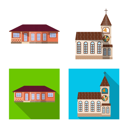 Isolated object of building and front symbol. Set of building and roof stock symbol for web.